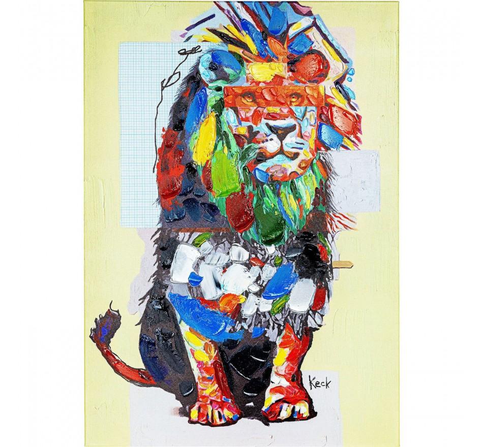 Tableau Touched Wildlife Lion 70x100cm