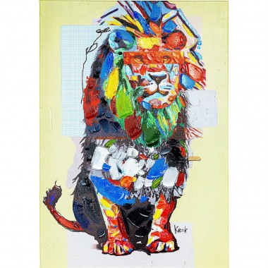 Tableau Touched Wildlife Lion 70x100cm