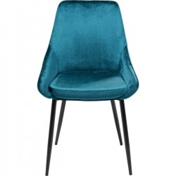 Chaise East Side velours bleu pétrole Kare Design