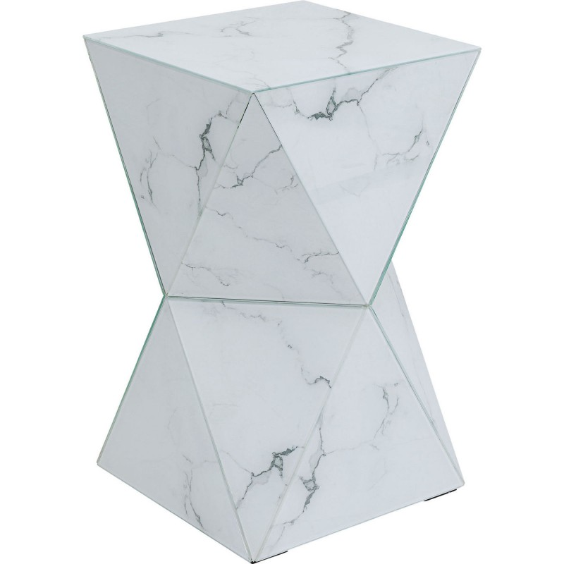 Side Table With Marble Effect Luxury Triangle Kare Design