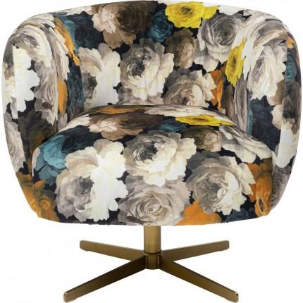 Draaibare fauteuil Pioenen geel Kare Design