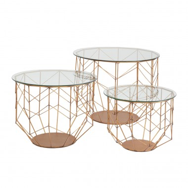 Coffee Table Wire Grid Brass (3/Set) Kare Design