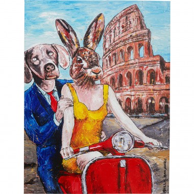 Tableau Touched Animal Pair Rome 80x60cm