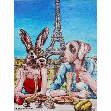 Tableau Touched Animal Pair Paris 80x60cm