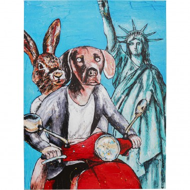 Tableau Touched Animal Pair NY 80x60cm