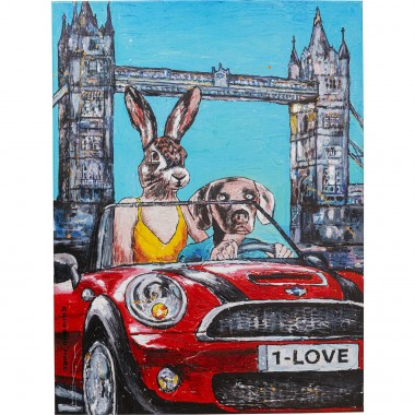 Tableau Touched Animal Pair London 80x60cm