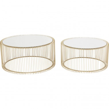 Coffee Table Wire Brass (2/Set) Kare Design