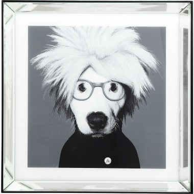 Tableau Frame Mirror Artist Dog 60x60cm