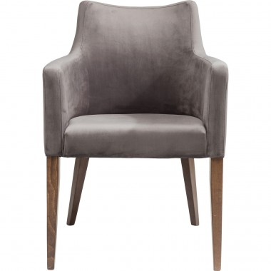 Chair with Armrest Mode Velvet Grey Kare Design