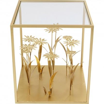 Table d appoint Flower Meadow doré 40x40cm