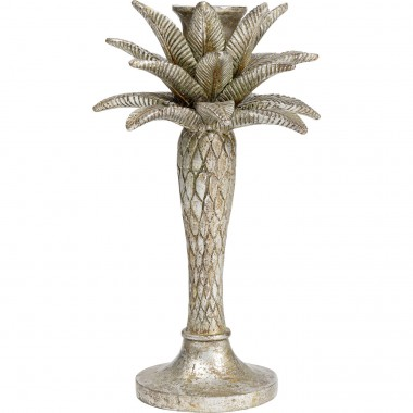 Bougeoir Palm Tree argenté 25cm