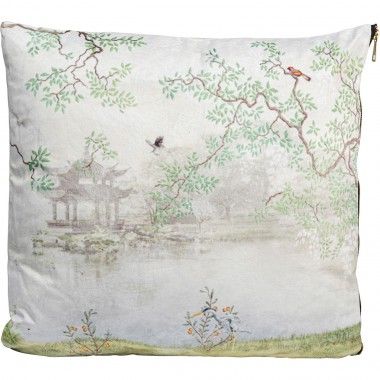 Coussin Chinese Garden blanc 45x45