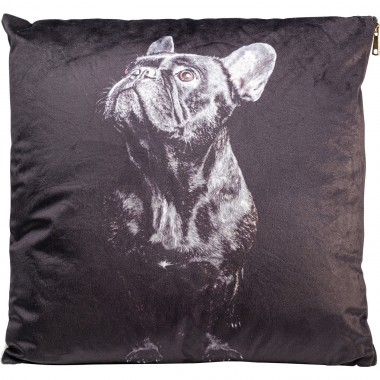 Coussin Looking Up Dog noir 45x45