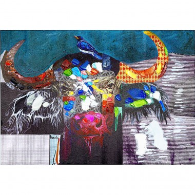 Tableau Touched Wildlife Buffalo 70x100cm