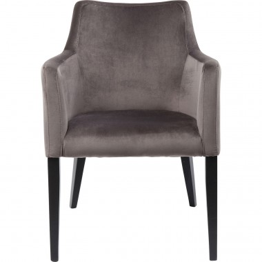 Chair with Armrest Black Mode Velvet Grey Kare Design