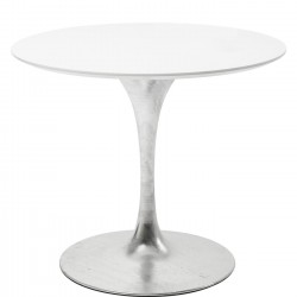 Table Invitation blanc & zinc 90cm Kare Design