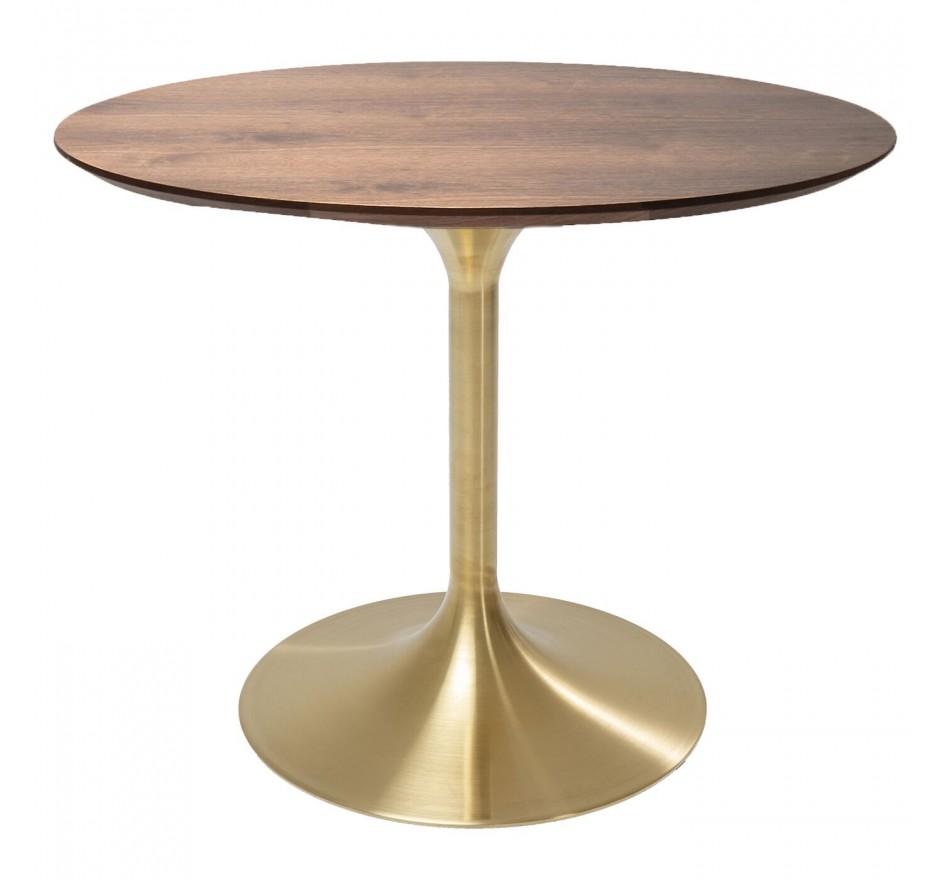 Table Invitation noyer-laiton Ø90cm