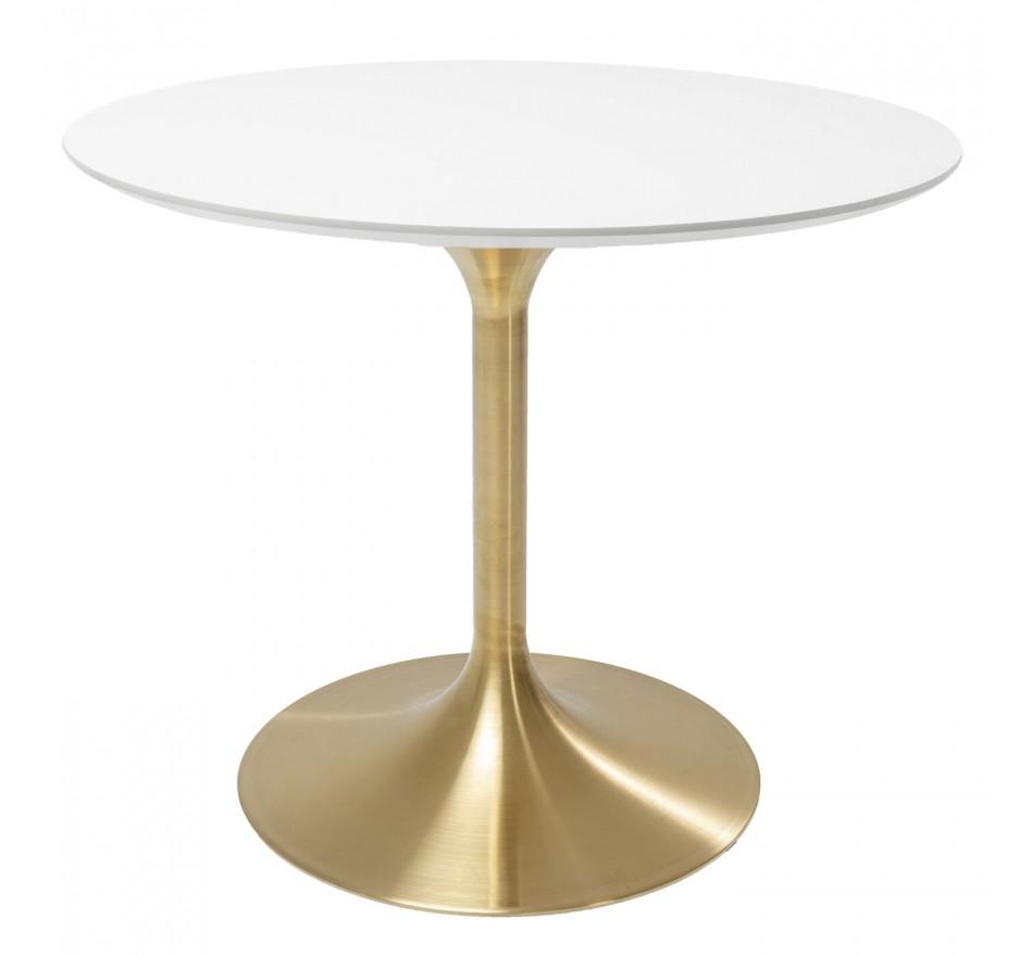 Table Invitation blanc-laiton Ø90cm